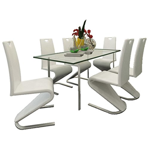 Daonanba Cantilever Kitchen Room Chair Dining Room Chair Artificial Leather White 6 Pcs