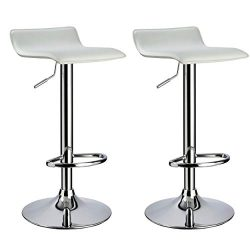 Bar stool WY-118 Curved Adjustable with PVC Leather Seat Set of 2 Bar chair (white)