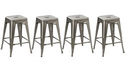 BTExpert Industrial Vintage Antique Style Distressed Metal Brush Modern Counter Bar Stool, 24 ...