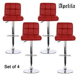 PU Leather Adjustable Bar Stools Back,Counter Height Swivel Stools (4PC A-Red)