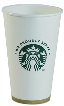 Starbucks White Disposable Hot Paper Cup, 16 Ounce, 100 Pack