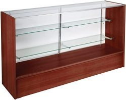 Free-Standing Glass Display Case with Cherry Finish Melamine Base, Includes Sliding Rear Doors & ...