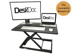 DeskDoc Premium Standing Desk Converter, 32in x 20in Workspace, Sit to Stand in Seconds, Adjust  ...