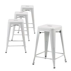 Buschman Set of Four White 30 Inches Counter Height Tolix-Style Metal Bar Stools, Indoor/Outdoor ...