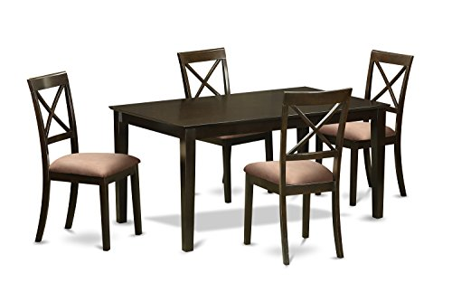 East West Furniture CABO5S-CAP-C 5 PC Dining Room Table Set-Solid Top Dining Table & 4 Micro ...