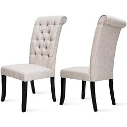 Harper Bright Design Dining Chair Tufted Armless Chair Upholstered Accent Chair, Set of 2 (Beige)
