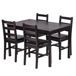 BestMassage Dining Table Set kitchen Dining Table Set Wood Table and Chairs Set Kitchen Table An ...
