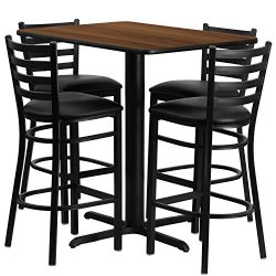 "Flash Furniture 24""W x 42""L Rectangular Walnut Laminate Table Set with 4 Ladder Back ..."