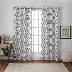 Exclusive Home Kochi Linen Blend Window Curtain Panel Pair with Grommet Top, Black Pearl, 52&#21 ...
