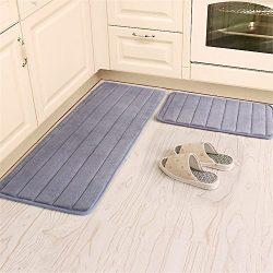 Kitchen Rugs, CAMAL 2 Pieces Non-Slip Memory Foam Stripe Kitchen Mat Rubber Backing Doormat Runn ...