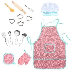 FunsLane Waterproof Apron 15Pcs Chef Set for Kids with Chef Hat and Other Accessories, Cooking C ...