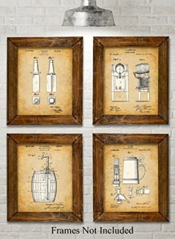 Original Beer Patent Art Prints – Set of Four Photos (8×10) Unframed – Great Gi ...
