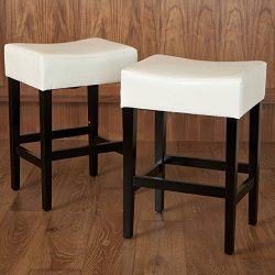 Best Selling Lopez Backless Leather Counter Stool, Ivory, Set of 2