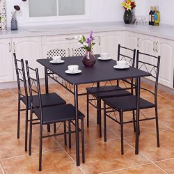 Giantex 5 PCS Dining Table And Chairs Set, Wood Metal Dining Room Breakfast Furniture Rectangula ...