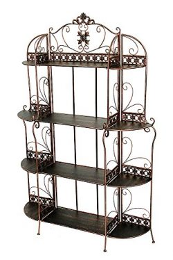 Heather Ann Creations Oliver Collection Contemporary Style Ornate Steel 4 Shelf Bakers Rack, Bla ...