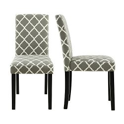 LSSBOUGHT Set of 2 Urban Style Fabric Dining Chairs With Solid Wood Legs (Flower)