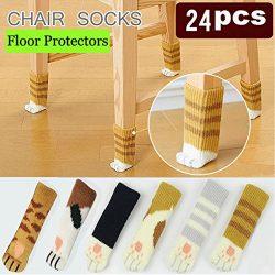 Cozy Furniture Feet Socks, Cat Paw Chair Leg Socks on Hardwood Floor, Knitted Wool Anti Skid Til ...