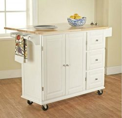 TMS Kitchen Cart and Island – This Portable Small Island Table with Wheels Has a Solid Woo ...