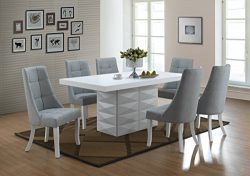 Kings Brand Milan 7 Piece White Modern Rectangle Dinette Dining Room Table & 6 Blue Chairs