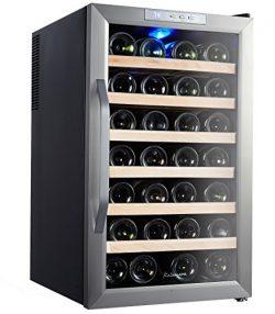 Kalamera Stainless Steel Freestanding Wine Refrigerator, 28 bottle