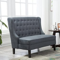 Andeworld Tufted Loveaseat Settee Sofa Bench for Dining Room (Steel Gray)