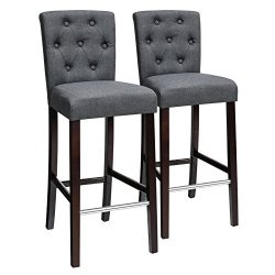 SONGMICS Bar Stools Kitchen Breakfast Chairs, with Button Tufted Backrest, Linen-style Fabric, S ...