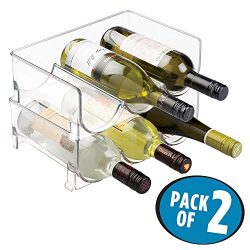 mDesign Stackable Wine Bottle Storage Rack for Kitchen Countertops, Cabinet – Holds 6 Bott ...