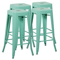 Mimo Life Metal Modern Barstool Set of 4 Backless Indoor Outdoor Stackable Bar Stools with Squar ...