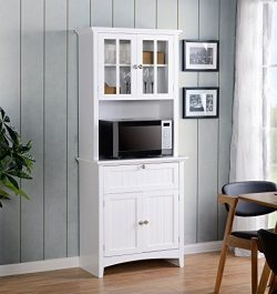 American Furniture Classics Home and Office Buffet and Hutch with Framed Glass Doors and Drawer, ...