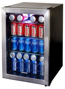 NewAir Beverage Cooler and Refrigerator, Small Mini Fridge with Glass Door, Perfect for Soda Bee ...