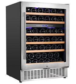 Aobosi Wine Cooler Dual Zone 51 Bottle Wine Refrigerator Built in and Freestanding with Seamless ...