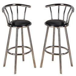 New Indoor Set of 4 Chrome Swivel Black Vinyl Seat Pub Bar Stools Chair Barstool