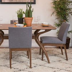 Christopher Knight Home 298987 Kwame Walnut Finish Dining Chair (Set of 2), Dark Grey