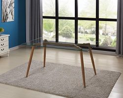IDS Online MLM-18608-T Glass Dining Table, Wooden Skin