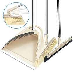 SLC Broom and Dustpan set, 3 Piece Grips Sweep Set with Dust Pan, Wipe and Dry Floor Squeegee, 4 ...