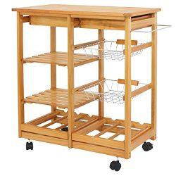 BBBuy Wooden Rolling Kitchen Storage Island Cart Dining Trolley Basket Stand Counter Top Table M ...
