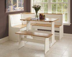 Ardmore Wood Corner Nook Set – Natural & White (Table, Bench & Corner Seat)