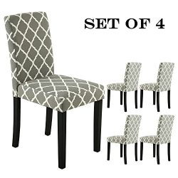 LSSBOUGHT Set of 2 Urban Style Fabric Dining Chairs With Solid Wood Legs (Flower Set of 4)
