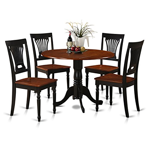 Cherry Kitchen Table And Chairs: East West Furniture DLPL5-BCH-W 5-Piece Kitchen Table And
