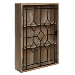 Kate and Laurel – Megara Wooden Wall Hanging Curio Cabinet for Open Storage with Decorativ ...
