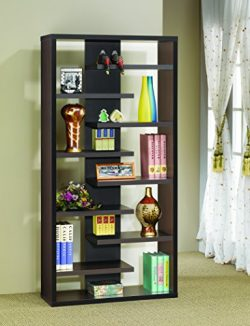 Coaster Casual Dark Cappuccino Interjecting Shelf Bookcase with Center Back Panel