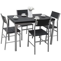 TANGKULA Dining Table Set 5 Piece Home Kitchen Dining Room Wood Top Table and Chairs Breaksfast  ...