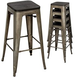 Best Choice Products 30in Set of 4 Industrial Style Distressed Stackable Metal Bar Stools w/Wood ...