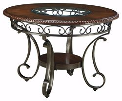 Ashley Furniture Signature Design – Glambrey Dining Room Table – Round – Brown