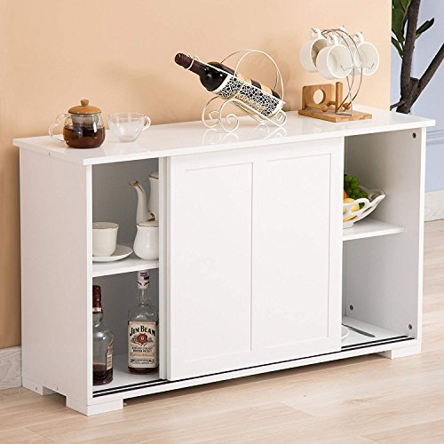 Mecor Kitchen Cupboard Buffet Storage Cabinet Sideboard 2 Sliding Doors/1 Shelf Dining Room Furn ...