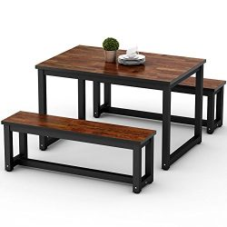 LITTLE TREE Dining Table Set with Two Benches, 3-Piece Rustic Rectangular Table with Heavy-Duty  ...