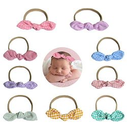 Tvoip 9 Pack-Gorgeous Rosettes on Super Soft and Stretchy Headbands for Newborn and Baby Girls & ...