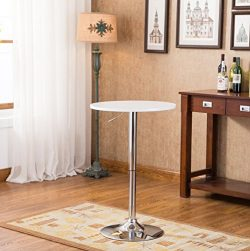 Roundhill Furniture Adjustable Height Wood Chrome Metal Bar Table, White