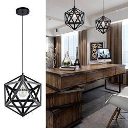 Industrial Polyhedron Pendant Light, Vintage Moisture-Proof Black Wrought Hanging Diamond Metal  ...