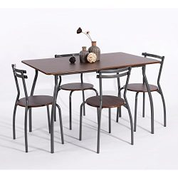 eHomeProducts 5pc Dining Dinette 4 Person Table and Chairs Set Metal Frame Dining Kitchen Breakf ...